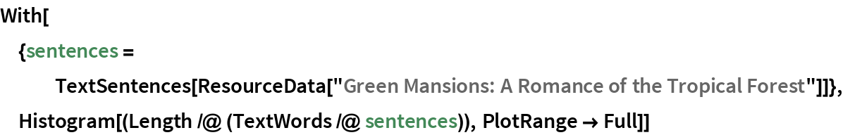 """With[{sentences = TextSentences[     ResourceData[""""Green Mansions: A Romance of the Tropical Forest""""]]},  Histogram[(Length /@ (TextWords /@ sentences)), PlotRange -> Full]]"""