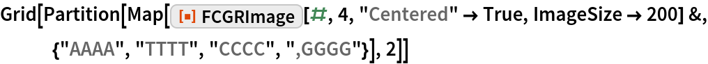"""Grid[Partition[   Map[ResourceFunction[""""FCGRImage""""][#, 4, """"Centered"""" -> True, ImageSize -> 200] &, {""""AAAA"""", """"TTTT"""", """"CCCC"""", """",GGGG""""}], 2]]"""
