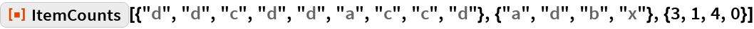 """ResourceFunction[  """"ItemCounts""""][{""""d"""", """"d"""", """"c"""", """"d"""", """"d"""", """"a"""", """"c"""", """"c"""", """"d""""}, {""""a"""", """"d"""", """"b"""", """"x""""}, {3, 1, 4, 0}]"""