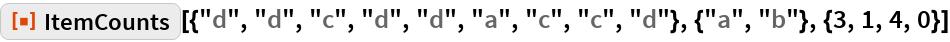 """ResourceFunction[  """"ItemCounts""""][{""""d"""", """"d"""", """"c"""", """"d"""", """"d"""", """"a"""", """"c"""", """"c"""", """"d""""}, {""""a"""", """"b""""}, {3, 1, 4, 0}]"""