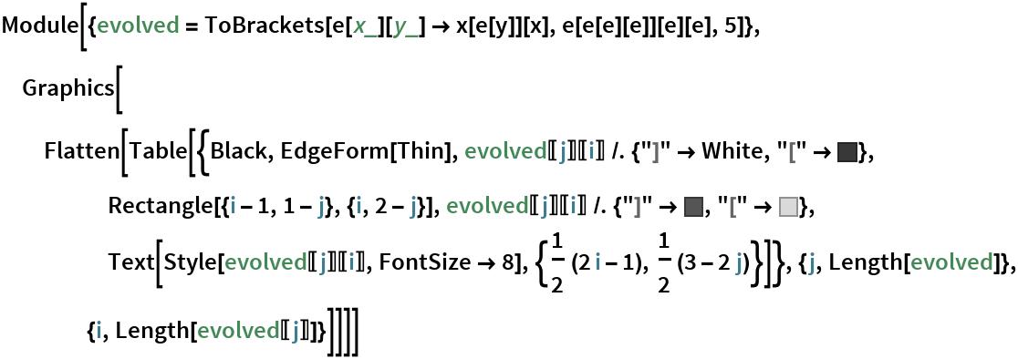 """Module[{evolved = ToBrackets[e[x_][y_] -> x[e[y]][x], e[e[e][e]][e][e], 5]}, Graphics[Flatten[    Table[{Black, EdgeForm[Thin], evolved[[j]][[i]] /. {""""]"""" -> White, """"["""" -> RGBColor[         0.22222222222222227`, 0.22222222222222227`, 0.22222222222222227`]}, Rectangle[{i - 1, 1 - j}, {i, 2 - j}], evolved[[j]][[        i]] /. {""""]"""" -> RGBColor[         0.33333333333333337`, 0.33333333333333337`, 0.33333333333333337`], """"["""" -> GrayLevel[0.85]}, Text[Style[evolved[[j]][[i]], FontSize -> 8], {1/2 (2 i - 1), 1/2 (3 - 2 j)}]}, {j, Length[evolved]}, {i, Length[evolved[[j]]]}]]]]"""