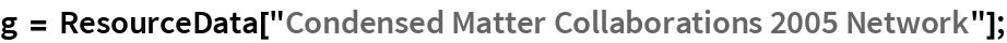"g = ResourceData[""Condensed Matter Collaborations 2005 Network""];"