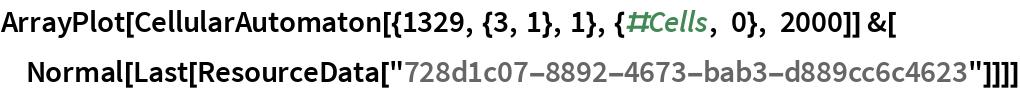 "ArrayPlot[CellularAutomaton[{1329, {3, 1}, 1}, {#Cells, 0}, 2000]] &[  Normal[Last[ResourceData[""728d1c07-8892-4673-bab3-d889cc6c4623""]]]]"