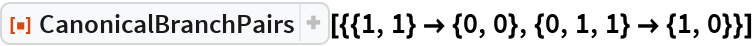 """ResourceFunction[  """"CanonicalBranchPairs""""][{{1, 1} -> {0, 0}, {0, 1, 1} -> {1, 0}}]"""