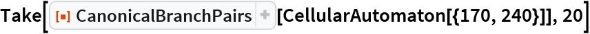 "Take[ResourceFunction[""CanonicalBranchPairs""][   CellularAutomaton[{170, 240}]], 20]"