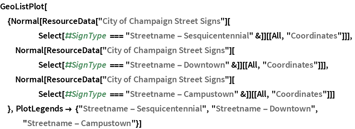"""GeoListPlot[{Normal[    ResourceData[""""City of Champaign Street Signs""""][      Select[#SignType === """"Streetname - Sesquicentennial"""" &]][[All, """"Coordinates""""]]],   Normal[ResourceData[""""City of Champaign Street Signs""""][      Select[#SignType === """"Streetname - Downtown"""" &]][[All, """"Coordinates""""]]],   Normal[ResourceData[""""City of Champaign Street Signs""""][      Select[#SignType === """"Streetname - Campustown"""" &]][[All, """"Coordinates""""]]]   }, PlotLegends -> {""""Streetname - Sesquicentennial"""", """"Streetname - Downtown"""", """"Streetname - Campustown""""}]"""