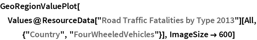 "GeoRegionValuePlot[  Values@ResourceData[""Road Traffic Fatalities by Type 2013""][    All, {""Country"", ""FourWheeledVehicles""}], ImageSize -> 600]"