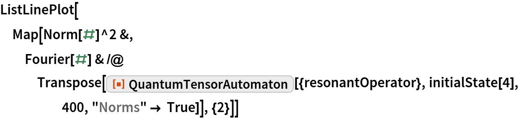"ListLinePlot[  Map[Norm[#]^2 &, Fourier[#] & /@ Transpose[     ResourceFunction[""QuantumTensorAutomaton""][{resonantOperator}, initialState[4], 400, ""Norms"" -> True]], {2}]]"