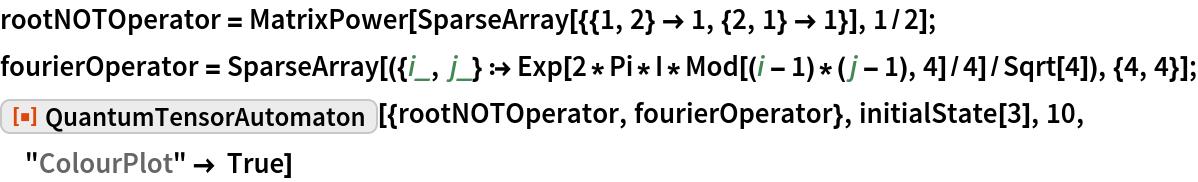 "rootNOTOperator = MatrixPower[SparseArray[{{1, 2} -> 1, {2, 1} -> 1}], 1/2]; fourierOperator = SparseArray[({i_, j_} :> Exp[2*Pi*I*Mod[(i - 1)*(j - 1), 4]/4]/Sqrt[4]), {4, 4}]; ResourceFunction[  ""QuantumTensorAutomaton""][{rootNOTOperator, fourierOperator}, initialState[3], 10, ""ColourPlot"" -> True]"