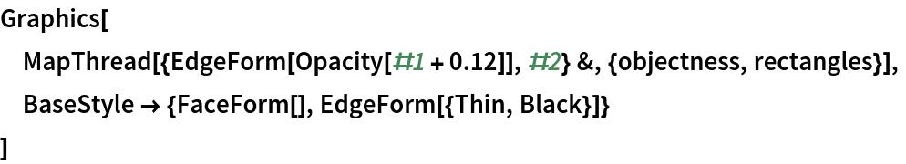 Graphics[  MapThread[{EdgeForm[Opacity[#1 + 0.12]], #2} &, {objectness, rectangles}],  BaseStyle -> {FaceForm[], EdgeForm[{Thin, Black}]}  ]