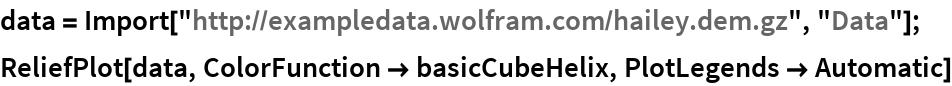 "data = Import[""http://exampledata.wolfram.com/hailey.dem.gz"", ""Data""]; ReliefPlot[data, ColorFunction -> basicCubeHelix, PlotLegends -> Automatic]"