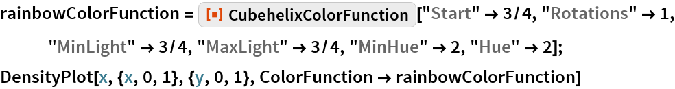 "rainbowColorFunction = ResourceFunction[""CubehelixColorFunction""][""Start"" -> 3/4, ""Rotations"" -> 1, ""MinLight"" -> 3/4, ""MaxLight"" -> 3/4, ""MinHue"" -> 2, ""Hue"" -> 2]; DensityPlot[x, {x, 0, 1}, {y, 0, 1}, ColorFunction -> rainbowColorFunction]"