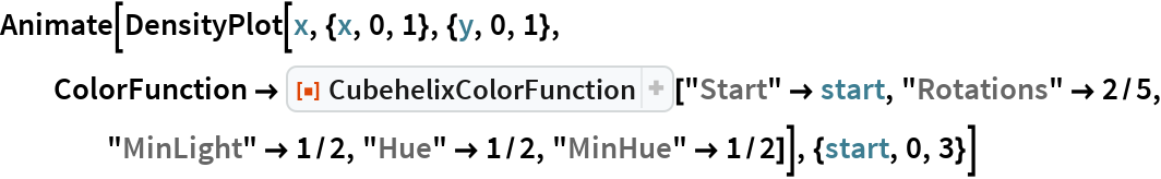 "Animate[DensityPlot[x, {x, 0, 1}, {y, 0, 1}, ColorFunction -> ResourceFunction[""CubehelixColorFunction""][""Start"" -> start, ""Rotations"" -> 2/5, ""MinLight"" -> 1/2, ""Hue"" -> 1/2, ""MinHue"" -> 1/2]], {start, 0, 3}]"