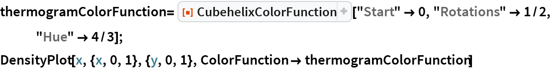"thermogramColorFunction = ResourceFunction[""CubehelixColorFunction""][""Start"" -> 0, ""Rotations"" -> 1/2, ""Hue"" -> 4/3]; DensityPlot[x, {x, 0, 1}, {y, 0, 1}, ColorFunction -> thermogramColorFunction]"