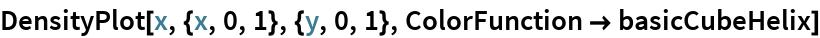 DensityPlot[x, {x, 0, 1}, {y, 0, 1}, ColorFunction -> basicCubeHelix]