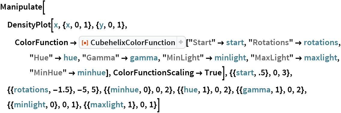 "Manipulate[  DensityPlot[x, {x, 0, 1}, {y, 0, 1}, ColorFunction -> ResourceFunction[""CubehelixColorFunction""][""Start"" -> start, ""Rotations"" -> rotations, ""Hue"" -> hue, ""Gamma"" -> gamma, ""MinLight"" -> minlight, ""MaxLight"" -> maxlight, ""MinHue"" -> minhue], ColorFunctionScaling -> True], {{start, .5}, 0, 3}, {{rotations, -1.5}, -5, 5}, {{minhue, 0}, 0, 2}, {{hue, 1}, 0, 2}, {{gamma, 1}, 0, 2}, {{minlight, 0}, 0, 1}, {{maxlight, 1}, 0,    1}]"