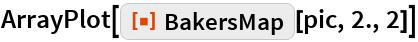 "ArrayPlot[ResourceFunction[""BakersMap""][pic, 2., 2]]"