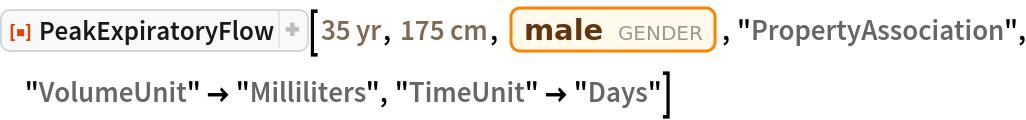 "ResourceFunction[""PeakExpiratoryFlow""][Quantity[35, ""Years""], Quantity[175, ""Centimeters""], Entity[""Gender"", ""Male""], ""PropertyAssociation"", ""VolumeUnit"" -> ""Milliliters"", ""TimeUnit"" -> ""Days""]"