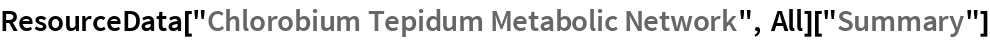 "ResourceData[""Chlorobium Tepidum Metabolic Network"", All][""Summary""]"