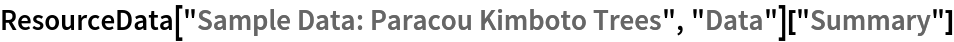 "ResourceData[\!\(\* TagBox[""\""\<Sample Data: Paracou Kimboto Trees\>\"""", #& , BoxID -> ""ResourceTag-Sample Data: Paracou Kimboto Trees-Input"", AutoDelete->True]\), ""Data""][""Summary""]"