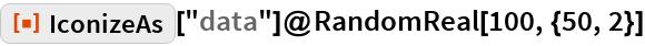 "ResourceFunction[""IconizeAs""][""data""]@RandomReal[100, {50, 2}]"
