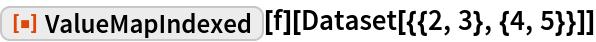 "ResourceFunction[""ValueMapIndexed""][f][Dataset[{{2, 3}, {4, 5}}]]"
