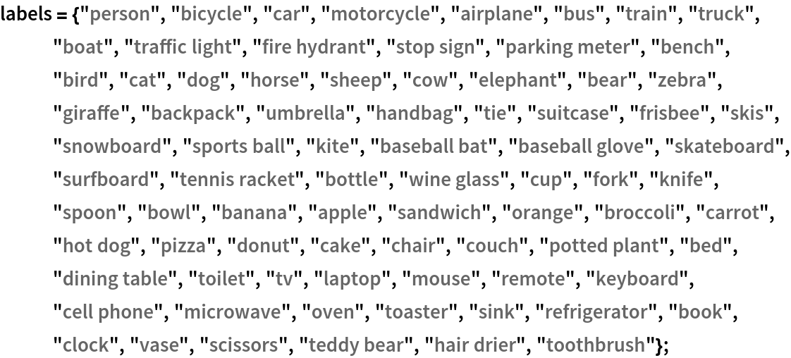 "labels = {""person"", ""bicycle"", ""car"", ""motorcycle"", ""airplane"", ""bus"",     ""train"", ""truck"", ""boat"", ""traffic light"", ""fire hydrant"", ""stop sign"", ""parking meter"", ""bench"", ""bird"", ""cat"", ""dog"", ""horse"", ""sheep"", ""cow"", ""elephant"", ""bear"", ""zebra"", ""giraffe"", ""backpack"", ""umbrella"", ""handbag"", ""tie"", ""suitcase"", ""frisbee"", ""skis"", ""snowboard"", ""sports ball"", ""kite"", ""baseball bat"", ""baseball glove"", ""skateboard"", ""surfboard"", ""tennis racket"", ""bottle"", ""wine glass"", ""cup"", ""fork"", ""knife"", ""spoon"", ""bowl"", ""banana"", ""apple"", ""sandwich"", ""orange"", ""broccoli"", ""carrot"", ""hot dog"", ""pizza"", ""donut"", ""cake"", ""chair"", ""couch"", ""potted plant"", ""bed"", ""dining table"", ""toilet"", ""tv"", ""laptop"", ""mouse"", ""remote"", ""keyboard"", ""cell phone"", ""microwave"", ""oven"", ""toaster"", ""sink"", ""refrigerator"", ""book"", ""clock"", ""vase"", ""scissors"", ""teddy bear"", ""hair drier"", ""toothbrush""};"