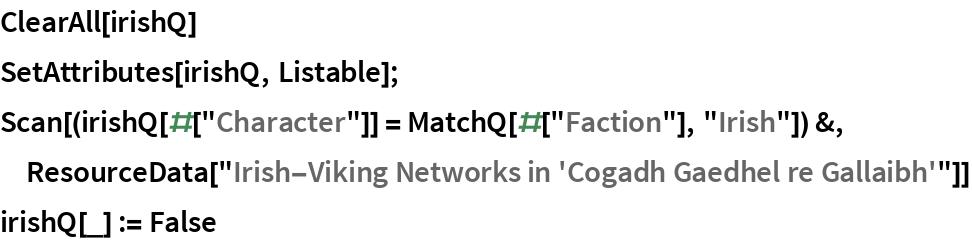 "ClearAll[irishQ] SetAttributes[irishQ, Listable]; Scan[(irishQ[#[""Character""]] = MatchQ[#[""Faction""], ""Irish""]) &, ResourceData[""Irish-Viking Networks in 'Cogadh Gaedhel re Gallaibh'""]] irishQ[_] := False"