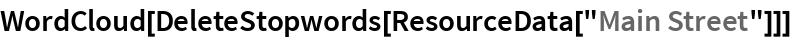 """WordCloud[DeleteStopwords[ResourceData[""""Main Street""""]]]"""