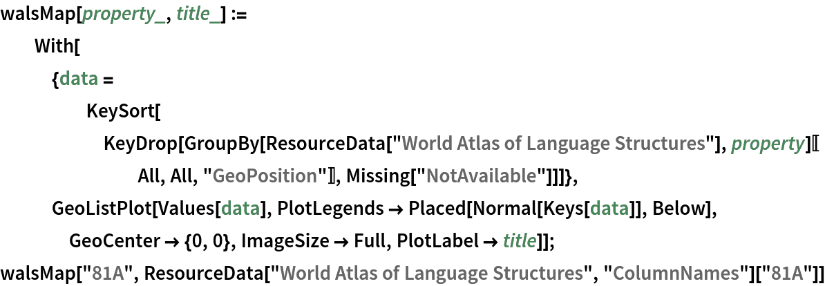 """walsMap[property_, title_] := With[{data = KeySort[KeyDrop[        GroupBy[ResourceData[""""World Atlas of Language Structures""""], property][[All, All, """"GeoPosition""""]], Missing[""""NotAvailable""""]]]}, GeoListPlot[Values[data], PlotLegends -> Placed[Normal[Keys[data]], Below], GeoCenter -> {0, 0}, ImageSize -> Full, PlotLabel -> title]]; walsMap[""""81A"""", ResourceData[""""World Atlas of Language Structures"""", """"ColumnNames""""][   """"81A""""]]"""