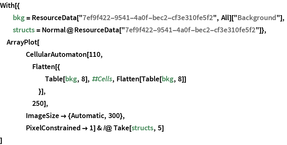 """With[{   bkg = ResourceData[""""7ef9f422-9541-4a0f-bec2-cf3e310fe5f2"""", All][     """"Background""""],   structs = Normal@ResourceData[""""7ef9f422-9541-4a0f-bec2-cf3e310fe5f2""""]},  ArrayPlot[     CellularAutomaton[110,      Flatten[{        Table[bkg, 8], #Cells, Flatten[Table[bkg, 8]]        }],      250],     ImageSize -> {Automatic, 300},     PixelConstrained -> 1] & /@ Take[structs, 5]  ]"""
