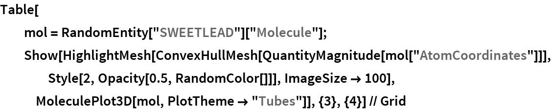 "Table[   mol = RandomEntity[""SWEETLEAD""][""Molecule""];   Show[HighlightMesh[     ConvexHullMesh[QuantityMagnitude[mol[""AtomCoordinates""]]], Style[2, Opacity[0.5, RandomColor[]]], ImageSize -> 100], MoleculePlot3D[mol, PlotTheme -> ""Tubes""]], {3}, {4}] // Grid"