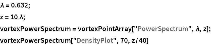 "\[Lambda] = 0.632; z = 10 \[Lambda]; vortexPowerSpectrum = vortexPointArray[""PowerSpectrum"", \[Lambda], z]; vortexPowerSpectrum[""DensityPlot"", 70, z/40]"