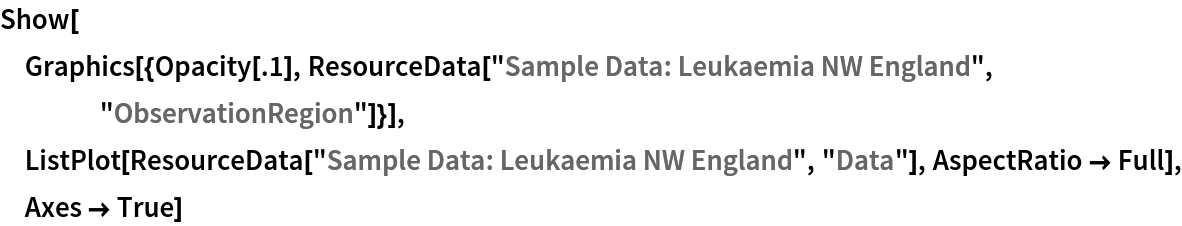 "Show[Graphics[{Opacity[.1], ResourceData[\!\(\* TagBox[""\""\<Sample Data: Leukaemia NW England\>\"""", #& , BoxID -> ""ResourceTag-Sample Data: Leukaemia NW England-Input"", AutoDelete->True]\), ""ObservationRegion""]}], ListPlot[ResourceData[\!\(\* TagBox[""\""\<Sample Data: Leukaemia NW England\>\"""", #& , BoxID -> ""ResourceTag-Sample Data: Leukaemia NW England-Input"", AutoDelete->True]\), ""Data""], AspectRatio -> Full], Axes -> True]"