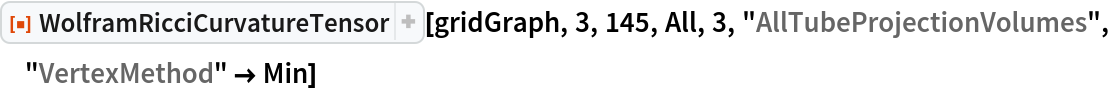 "ResourceFunction[  ""WolframRicciCurvatureTensor""][gridGraph, 3, 145, All, 3, \ ""AllTubeProjectionVolumes"", ""VertexMethod"" -> Min]"