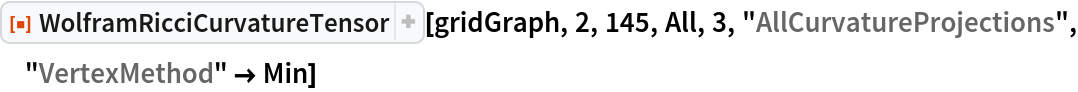 "ResourceFunction[  ""WolframRicciCurvatureTensor""][gridGraph, 2, 145, All, 3, \ ""AllCurvatureProjections"", ""VertexMethod"" -> Min]"