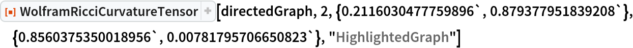 "ResourceFunction[  ""WolframRicciCurvatureTensor""][directedGraph, 2, \ {0.2116030477759896`, 0.879377951839208`}, {0.8560375350018956`, 0.00781795706650823`}, ""HighlightedGraph""]"