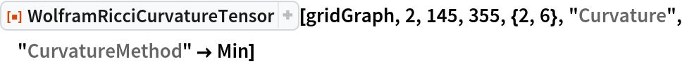 "ResourceFunction[  ""WolframRicciCurvatureTensor""][gridGraph, 2, 145, 355, {2, 6}, ""Curvature"", ""CurvatureMethod"" -> Min]"