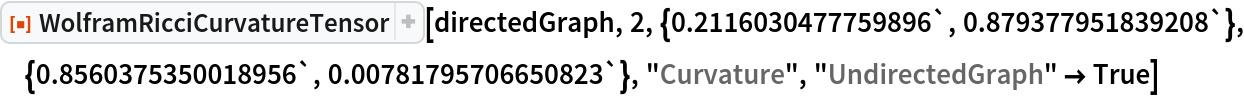 "ResourceFunction[  ""WolframRicciCurvatureTensor""][directedGraph, 2, \ {0.2116030477759896`, 0.879377951839208`}, {0.8560375350018956`, 0.00781795706650823`}, ""Curvature"", ""UndirectedGraph"" -> True]"