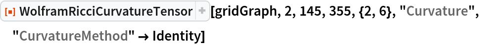 "ResourceFunction[  ""WolframRicciCurvatureTensor""][gridGraph, 2, 145, 355, {2, 6}, ""Curvature"", ""CurvatureMethod"" -> Identity]"