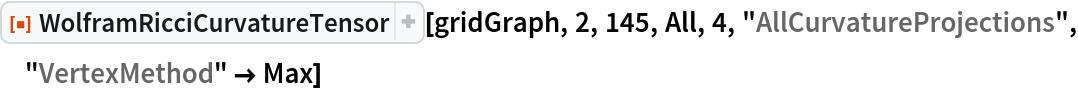 "ResourceFunction[  ""WolframRicciCurvatureTensor""][gridGraph, 2, 145, All, 4, \ ""AllCurvatureProjections"", ""VertexMethod"" -> Max]"