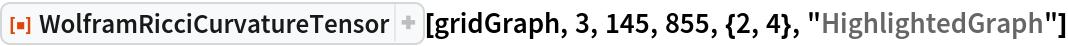 "ResourceFunction[  ""WolframRicciCurvatureTensor""][gridGraph, 3, 145, 855, {2, 4}, ""HighlightedGraph""]"
