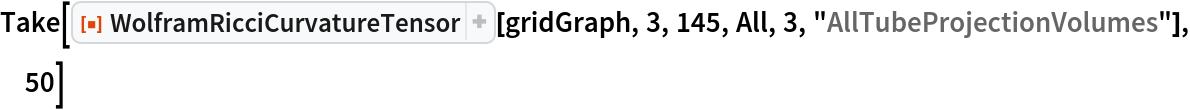 "Take[ResourceFunction[""WolframRicciCurvatureTensor""][gridGraph, 3, 145, All, 3, ""AllTubeProjectionVolumes""], 50]"