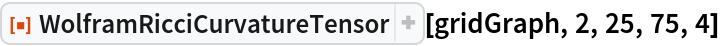 "ResourceFunction[""WolframRicciCurvatureTensor""][gridGraph, 2, 25, 75,   4]"