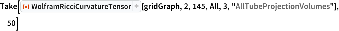 "Take[ResourceFunction[""WolframRicciCurvatureTensor""][gridGraph, 2, 145, All, 3, ""AllTubeProjectionVolumes""], 50]"