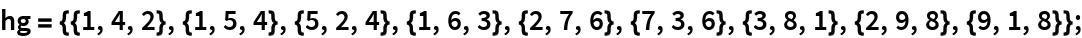 hg = {{1, 4, 2}, {1, 5, 4}, {5, 2, 4}, {1, 6, 3}, {2, 7, 6}, {7, 3, 6}, {3, 8, 1}, {2, 9, 8}, {9, 1, 8}};