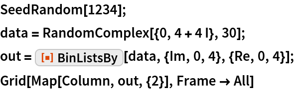 "SeedRandom[1234]; data = RandomComplex[{0, 4 + 4 I}, 30]; out = ResourceFunction[""BinListsBy""][data, {Im, 0, 4}, {Re, 0, 4}]; Grid[Map[Column, out, {2}], Frame -> All]"