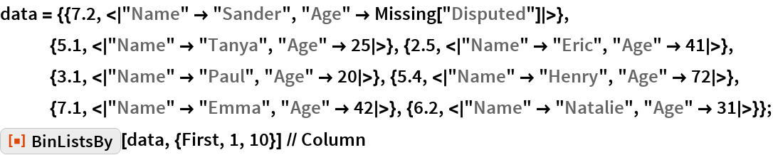 "data = {{7.2, <|""Name"" -> ""Sander"", ""Age"" -> Missing[""Disputed""]