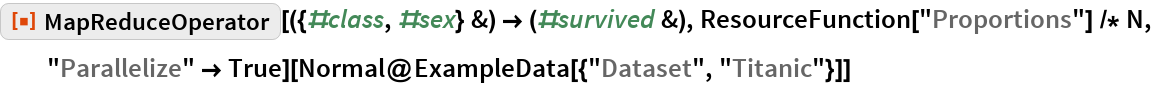 "ResourceFunction[   ""MapReduceOperator""][({#class, #sex} &) -> (#survived &), ResourceFunction[""Proportions""] /* N, ""Parallelize"" -> True][  Normal@ExampleData[{""Dataset"", ""Titanic""}]]"