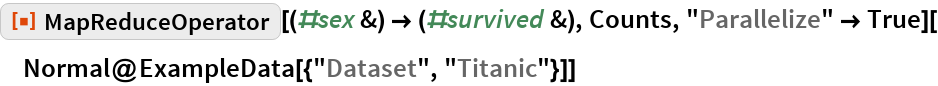 "ResourceFunction[""MapReduceOperator""][(#sex &) -> (#survived &), Counts, ""Parallelize"" -> True][  Normal@ExampleData[{""Dataset"", ""Titanic""}]]"